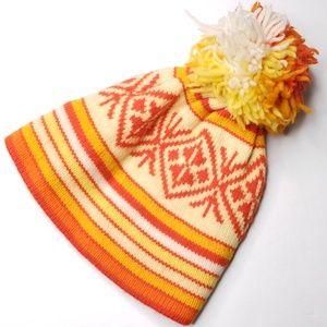 Vtg 70s Wool Knit Pom Pom Ski Beanie Hat